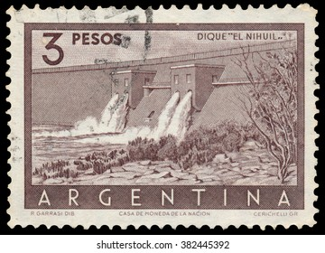 BUDAPEST, HUNGARY - 13 october 2015: a stamp printed by Argentina shows Nihuil Dam, Mendoza, circa 1956