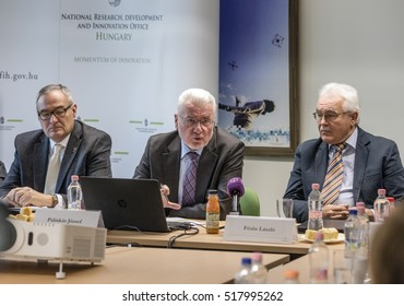 BUDAPEST, HUNGARY - 14 NOV, 2016: Jozsef Palinkas (m), leader of National Research, Development and innovation Office on a press conference in Budapest.