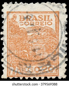 BUDAPEST, HUNGARY - 14 October 2015: a stamp printed in the Brazil shows image celebrating energy, circa 1933