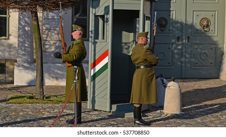 Budapest, Hungary 16 december 2016, hungarian military guard dalily changing ceremony in the Buda Castle in front of the the presidenttial palace
