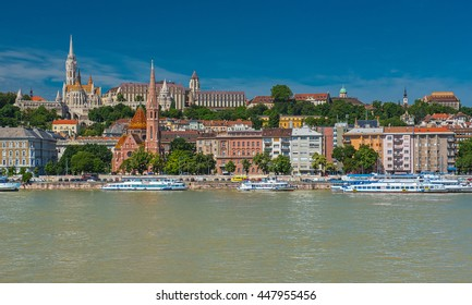 BUDAPEST, HUNGARY - 16 JUNE 2016: View on the Buda side of Budapest with the river Danube in Hungary, Budapest on 16 June, 2016.