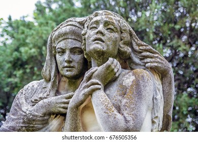 Budapest, Hungary, 16 june 2016: Fragment woman statue at the Kerepesi cemetery in Budapest.