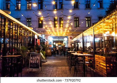 BUDAPEST, HUNGARY - 17.Oct.2017: The Gozsdu Courtyard, once the core of Budapest's Jewish quarter, today is popular place with restaurants, pubs and bars.