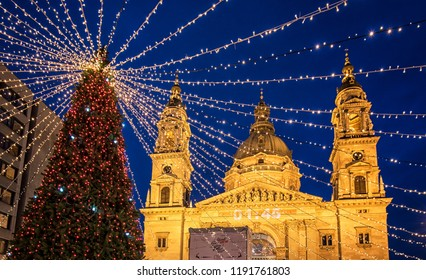 BUDAPEST, HUNGARY - 18 DECEMBER, 2017: Christmas Fair in Budapest. From Advent to New Year the square in front of the Basilica gives home to a charming Christmas fair.