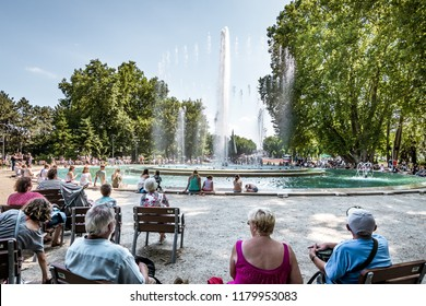 Budapest, Hungary - 20 may 2018: Music Fountain on the Margaret Island.