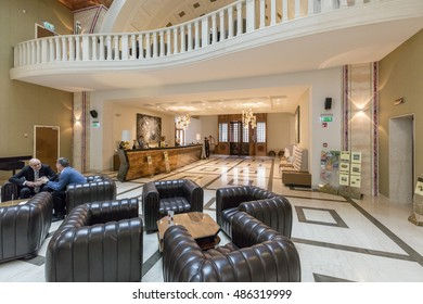 BUDAPEST, HUNGARY - 20 SEPTEMBER 2016: Reception of Zara Continental Budapest Superior Hotel. The hotel is built on the site of the former legendary Hungaria Spa and the historical Continental Hotel.