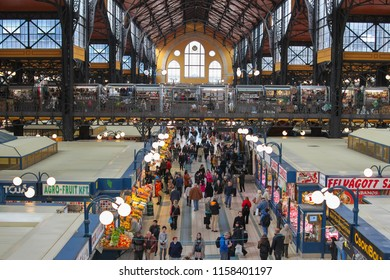 Budapest, Hungary - 2016-10-20 : Interior of Great Market Hall or Central Market Hall showing vendors in the largest and oldest indoor marketplace in Budapest Hungary