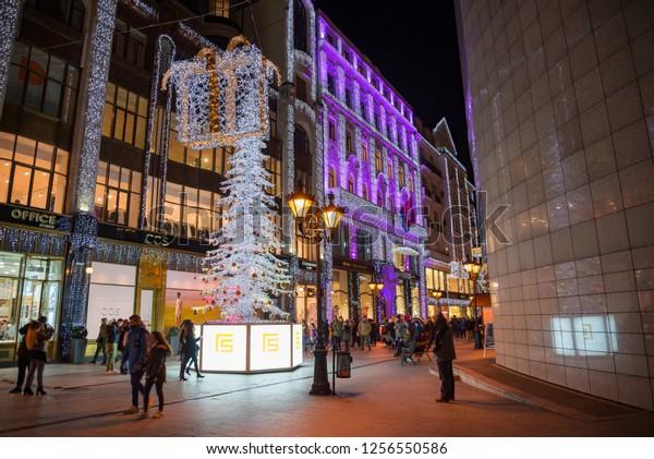 Budapest Christmas Market 2018.Budapest Hungary 2018 Fashion Street Budapest Stock Photo
