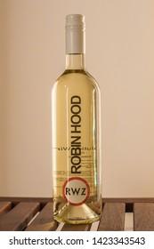 Budapest / Hungary 2018.01.21 Wine collections: Chardonnay, Robin Hood, 2015, Revolution WineZ