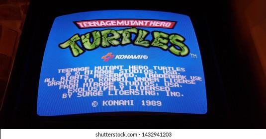 Budapest, Hungary - 2019.0619.: Old retro flipper arcade game machines, Teenage Mutant Turtles
