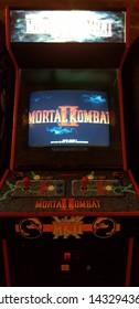 Budapest, Hungary - 2019.0619.: Old retro flipper arcade game machines, Mortal Kombat II