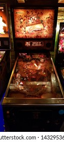 Budapest, Hungary - 2019.0619.: Old retro flipper arcade game machines, The Flinstones
