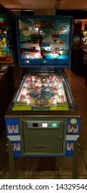 Budapest, Hungary - 2019.0619.: Old retro flipper arcade game machines, Budapest