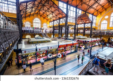 Budapest, Hungary - 21, July 2017 - Central Market Hall in Budapest