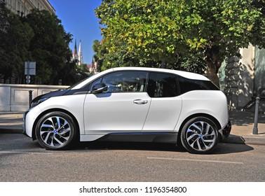 BUDAPEST, HUNGARY - 21 SEPTEMBER: BMW i3 electric car in the street of Budapest on September 21, 2018.