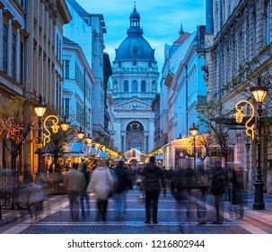 BUDAPEST, HUNGARY - 23 DECEMBER, 2017: Christmas Fair in Budapest. From Advent to New Year the square in front of the Basilica gives home to a charming Christmas fair.