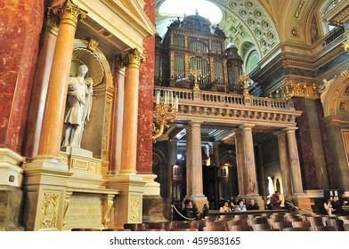 BUDAPEST, HUNGARY - 24 APRIL 2016: Inside St. Stephen's Basilica in Budapest, Hungary