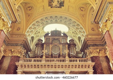 BUDAPEST, HUNGARY - 24 APRIL 2016:  Pipe organ of St. Stephen's Basilica, Budapest, Hungary (VINTAGE STYLE)
