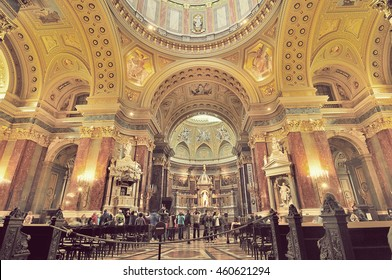 BUDAPEST, HUNGARY - 24 APRIL 2016: Anonymous people took photo inside St. Stephen's Basilica in Budapest, Hungary