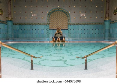 BUDAPEST, HUNGARY - 25 APR 2017: Interior design of Art Nouveau style bath complex of Gellert Bath on 25 April 2017 in Budapest, Hungary