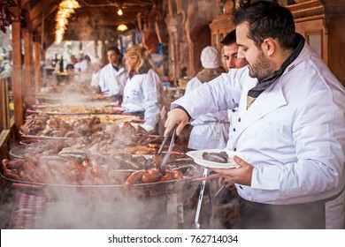Budapest, Hungary - 26 october, 2017: A vendor sells traditional Hungarian street food at one of the stalls in the streets of Budapest.