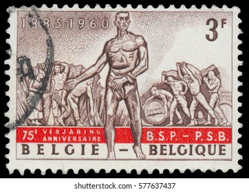 BUDAPEST, HUNGARY - 27 february 2016: stamp printed in Belgium, shows The sower, field and dock workers, from Monument to Labor, circa 1960