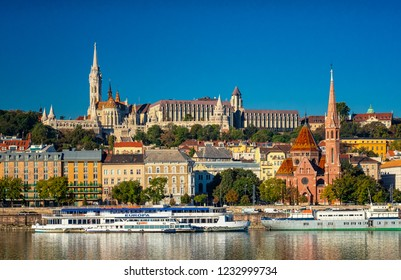 BUDAPEST, HUNGARY - 28 SEPTEMBER, 2018: View on Buda with Fisherman's Bastion on 28 September, 2018.