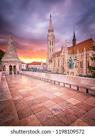 BUDAPEST, HUNGARY - 29 SEPTEMBER, 2018: View on Mathias Church in the castle, Hungary in Budapest on 29 September 2018.