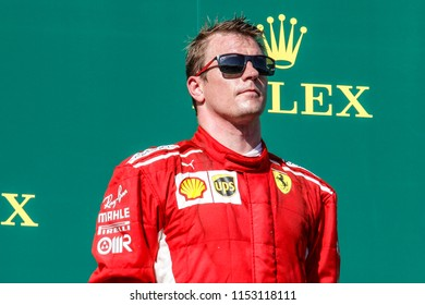 Budapest, Hungary. 29/07/2018. Grand Prix of Hungary. F1 World Championship 2018. Kimi Raikkonen, Ferrari, third at finish.