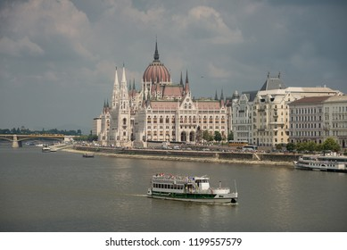 Budapest, Hungary -  3 august, 2018: The Parliament of Budapest (in Hungarian Országház) is a palace in Budapest, symbol  and is the seat of the Hungarian National Assembly