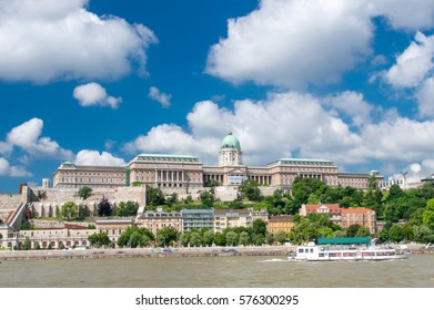 Budapest, Hungary - 3 june 2016: Buda Castle and Dunabe river with boat.