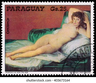 BUDAPEST, HUNGARY - 30 march 2016:  a stamp printed  in Paraguay, shows painting by artist Francisco de Goya, circa 1978