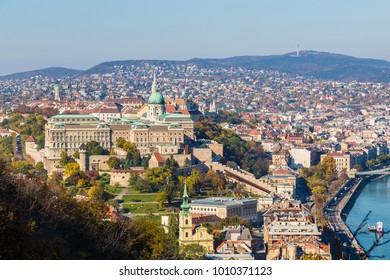 BUDAPEST, HUNGARY - 30TH OCTOBER 2015: A high angle view of the outside of the Buda Castle in Budapest during the day. Other buildings can be seen.