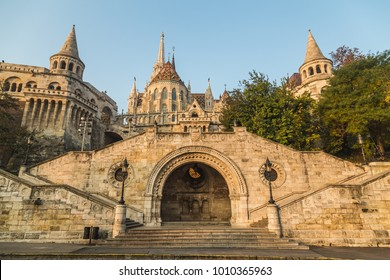 BUDAPEST, HUNGARY - 31ST OCTOBER 2015: The outside of Fisherman's Bastion in Budapest during the day in the morning.