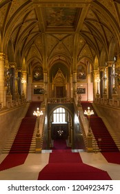 Budapest, Hungary -  4 august, 2018: interior of The Parliament of Budapest (in Hungarian Országház) is a palace in Budapest, symbol  and is the seat of the Hungarian National Assembly