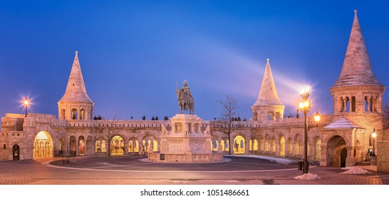 BUDAPEST, HUNGARY - 4 MARCH, 2018: Famous Fishermen's Bastion in Budapest in dusk on 3 March, 2018.