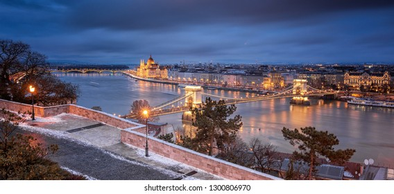 BUDAPEST, HUNGARY - 5 JANUARY, 2019: View on the Chain Bridge and the Hungarian Parliament in winter on 5 January, 2019