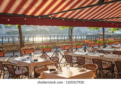 BUDAPEST, HUNGARY - 6 MAY, 2018: Nice restaurant in the downtown of Budapest, Hungary on 6 May, 2018.