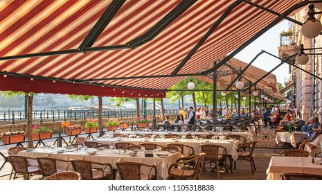 BUDAPEST, HUNGARY - 6 MAY, 2018: Nice restaurant in the downtown of Budapest, Hungary on 6 May, 2018