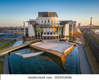 Budapest, Hungary - Aerial drone view of the beautiful national theater of Hungary at sunset with clear blue sky