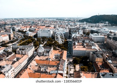 Budapest, Hungary - Aerial panoramic skyline view of Deák Ferenc square St.Stephen's Basilica, Hungarian Parliament and Matthias Church