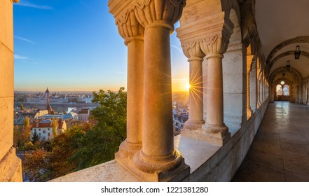 Budapest, Hungary - Aerial panoramic skyline view at sunrise from Fisherman's Bastion with Parliament of Hungary at background