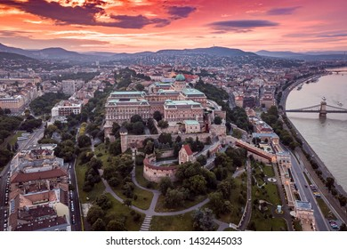 Budapest Hungary - Aerial panoramic skyline view of Budapest at sunset with Buda Castle Royal Palace, Szechenyi Chain Bridge, Matthias Church over Danube river