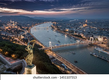 Budapest, Hungary - Aerial panoramic view of Budapest from above, with Statue of Liberty, Elisabeth and Szecheni Chain Bridge, Buda Castle, Matthias Church, Hungarian Parliament