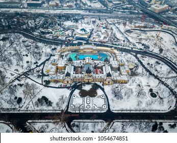 Budapest, Hungary - Aerial view of the famous Szechenyi Thermal bath from above in the snowy City Park at winter time