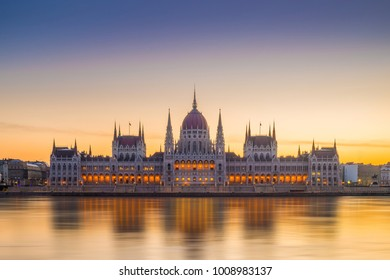 Budapest, Hungary - The amazing Hungarian Parliament and River Danube at sunrise