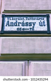 Budapest, Hungary - Andrassy Utca (Andrassy Street) sign. One of most famous tourist streets in Budapest.