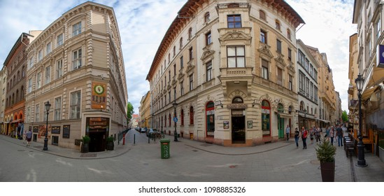 Budapest Hungary- Apr. 27, 2018: People walking in down-town in Budapest. 3.3 million people live in Budapest Metropolitan Area. It is the largest city in Hungary and 9th largest in the EU.
