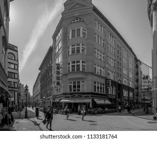 Budapest Hungary- Apr. 27, 2018: People walking in down-town in Budapest. 2.3 million people live in Budapest Metropolitan Area. It is the largest city in Hungary and 9th largest in the EU.