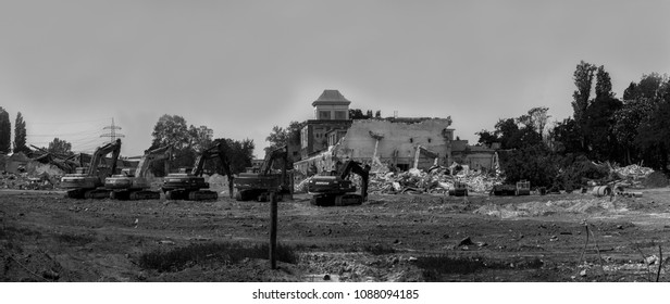 Budapest Hungary Apr. 29 2018: Demolition at an old factory with heavy machineries.
